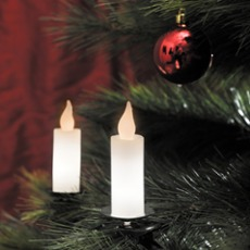 LED tree chain, 10 white real wax candles, 20 warmwhite LED