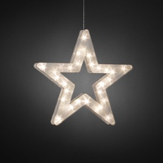 LED plastic star, with star effect, 30 warmwhite LEDs