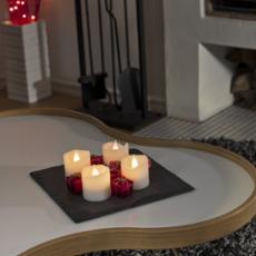 LED wax candles 4 piece set, 4 warmwhite LEDs