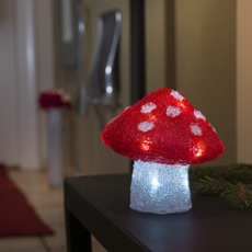 LED Fliegenpilz, 16 kaltwei�e LEDs