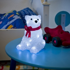 LED ALED Acryl polar bear, sitting with red ribbon