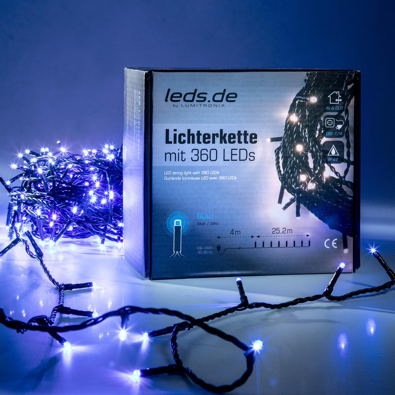 Lotti leds.de LED-Lichterkette, blau, 360 LEDs, 29m (inkl. 4m Zuleitung) 41747