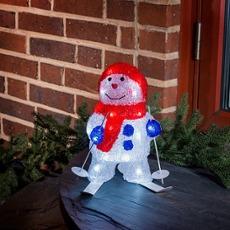 LED Snow Man with Ski, 24 coldwhite LEDs