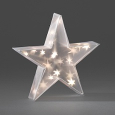 LED Plastic Star, warmwhite, 20 LEDs 35cm (20 LEDs)