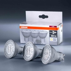 Osram LED BASE PAR16 50 4,8W 827 GU10 3 pack, Item no. 73415