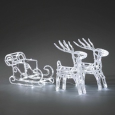 Acrylic LED set sleigh with reindeer, 96 coldwhite LEDs