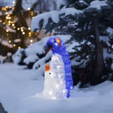 LED Penguin with Child, 40 White LEDs