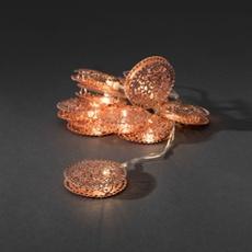 Decorative LED light set copper-coloured metal coins