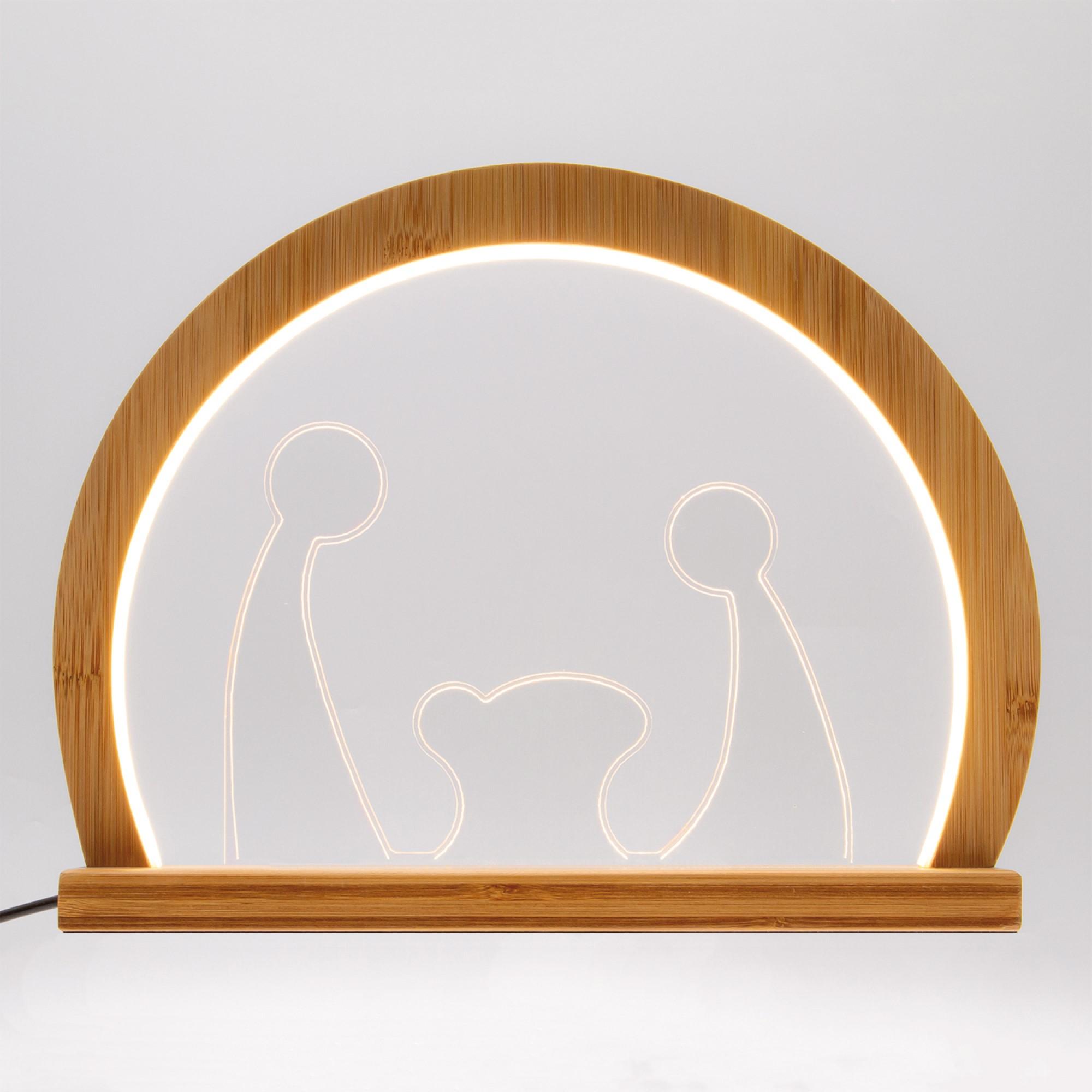 Lotti LED-Lichterbogen Krippenszene rund, Holz, 3000K, 30cm, IP20 58736