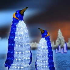 Large LED penguin, 160 white LEDs