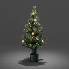 LED fibre-optic Christmas tree, 12 warmwhite LEDs 90cm