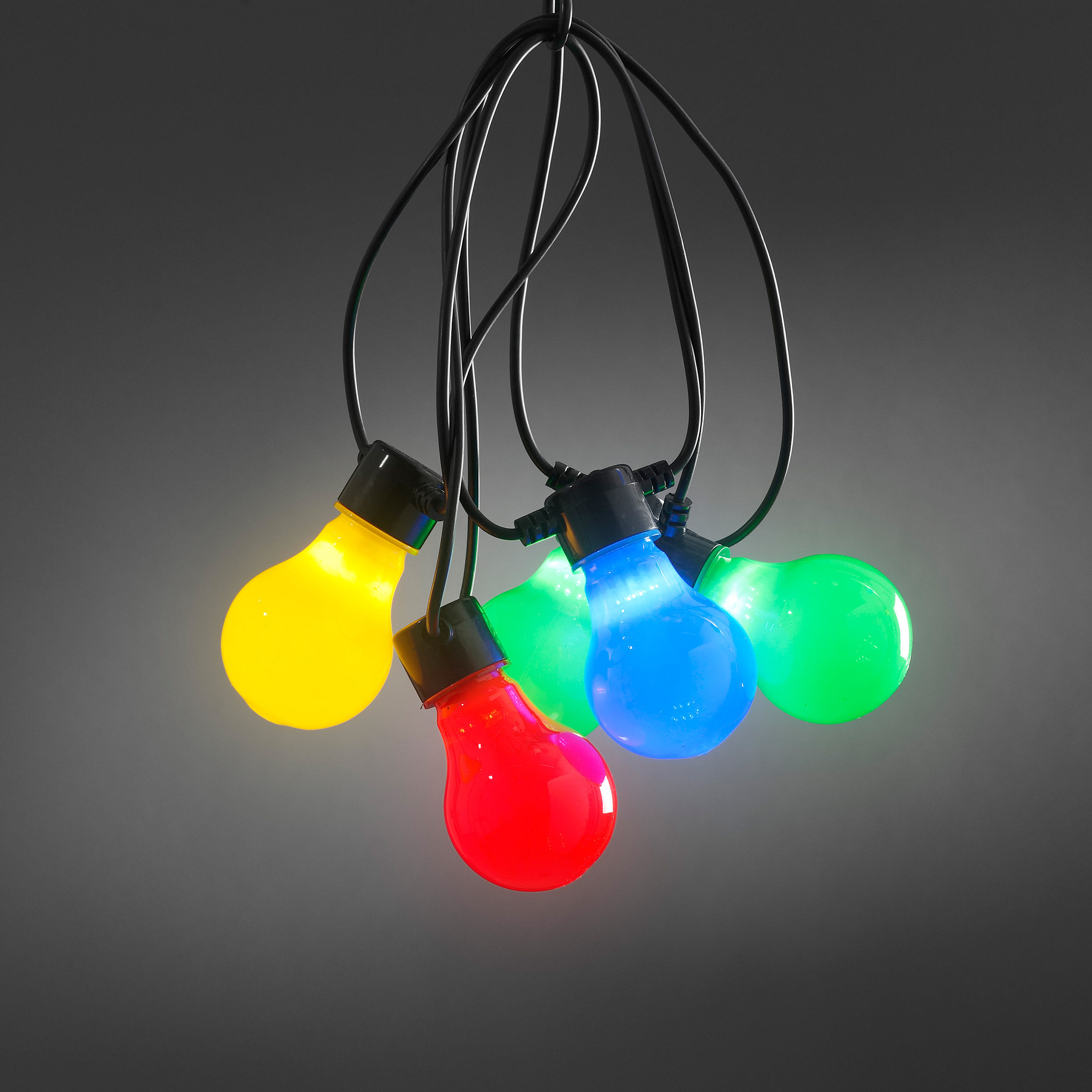 Konstsmide LED-Partylichterkette 10 bunte Lampen, 4,5 m 2388-520
