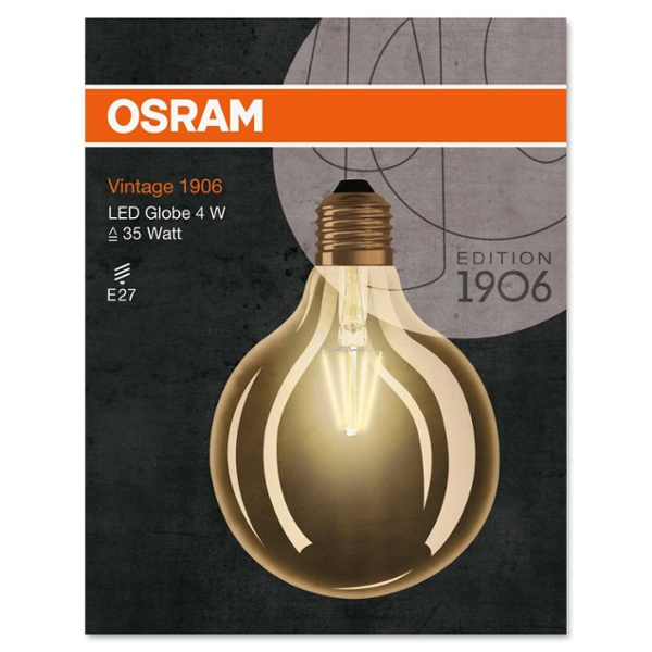 osram led vintage 1906 globe 40 4w e27 gold non dim im f hrenden led shop von lumitronix. Black Bedroom Furniture Sets. Home Design Ideas
