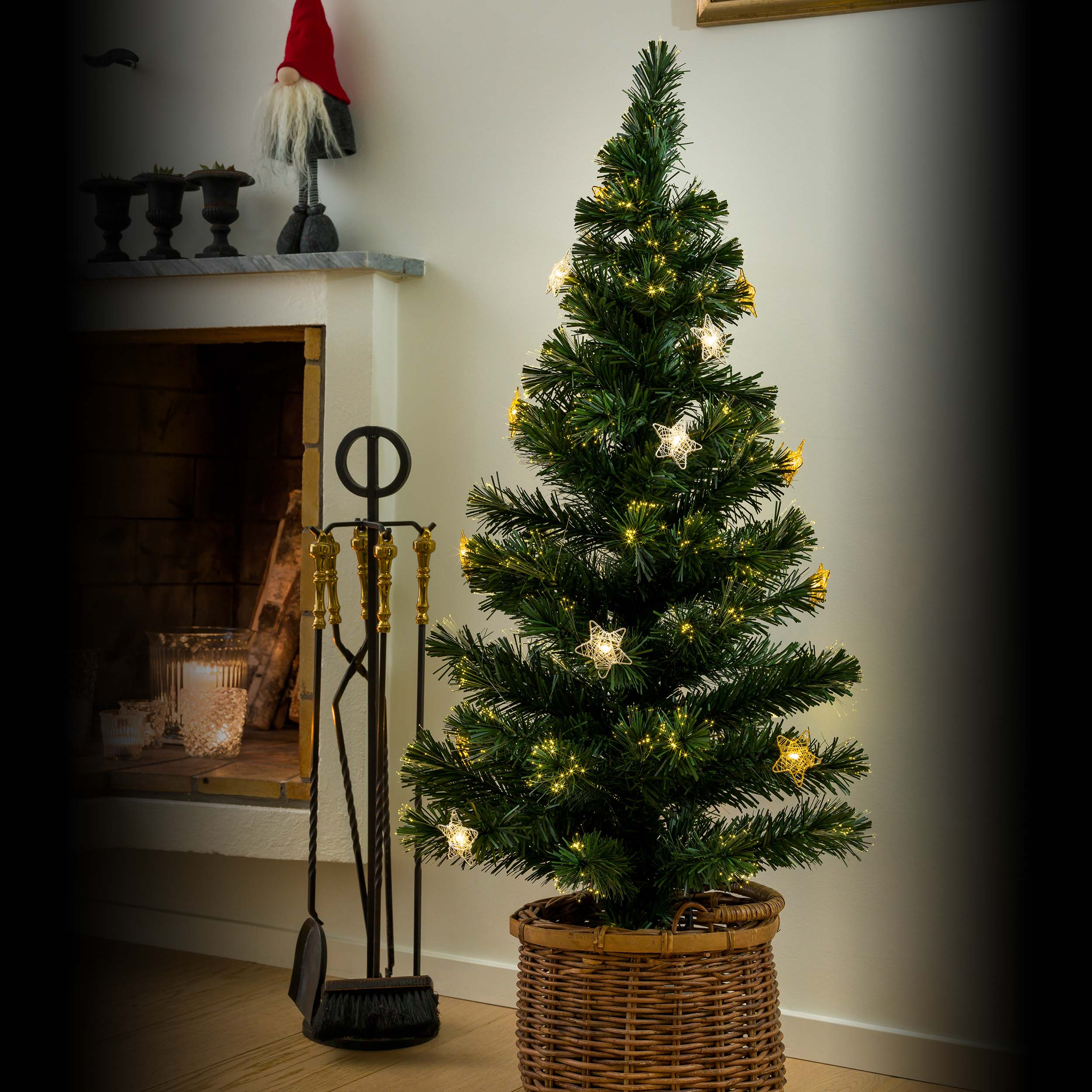 Gnosjö Konstsmide GmbH Konstsmide LED Fiberoptik Weihnachtsbaum, 16 warmweiße Dioden, 120cm 3399-900