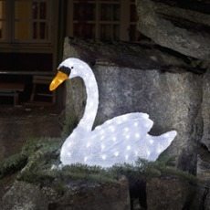 LED Swan, 80 coldwhite LEDs