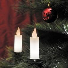 LED Baumkette 10 weiße Echtwachskerzen, 20 warmweiße LEDs
