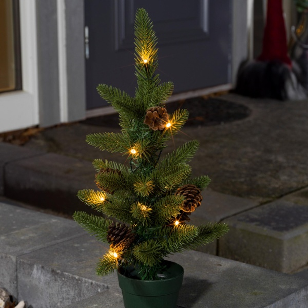 led weihnachtsbaum mit tannenzapfen 20 warmwei e dioden 60cm im f hrenden led shop von lumitronix. Black Bedroom Furniture Sets. Home Design Ideas