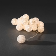 Decorative LED light set with white cotton balls, 3.5cm white