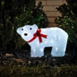 LED baby polar bear, standing with a red ribbon, Item no. 97078