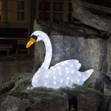 LED Swan, 80 coldwhite LEDs
