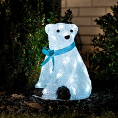 LED baby polar bear, standing with blue ribbon