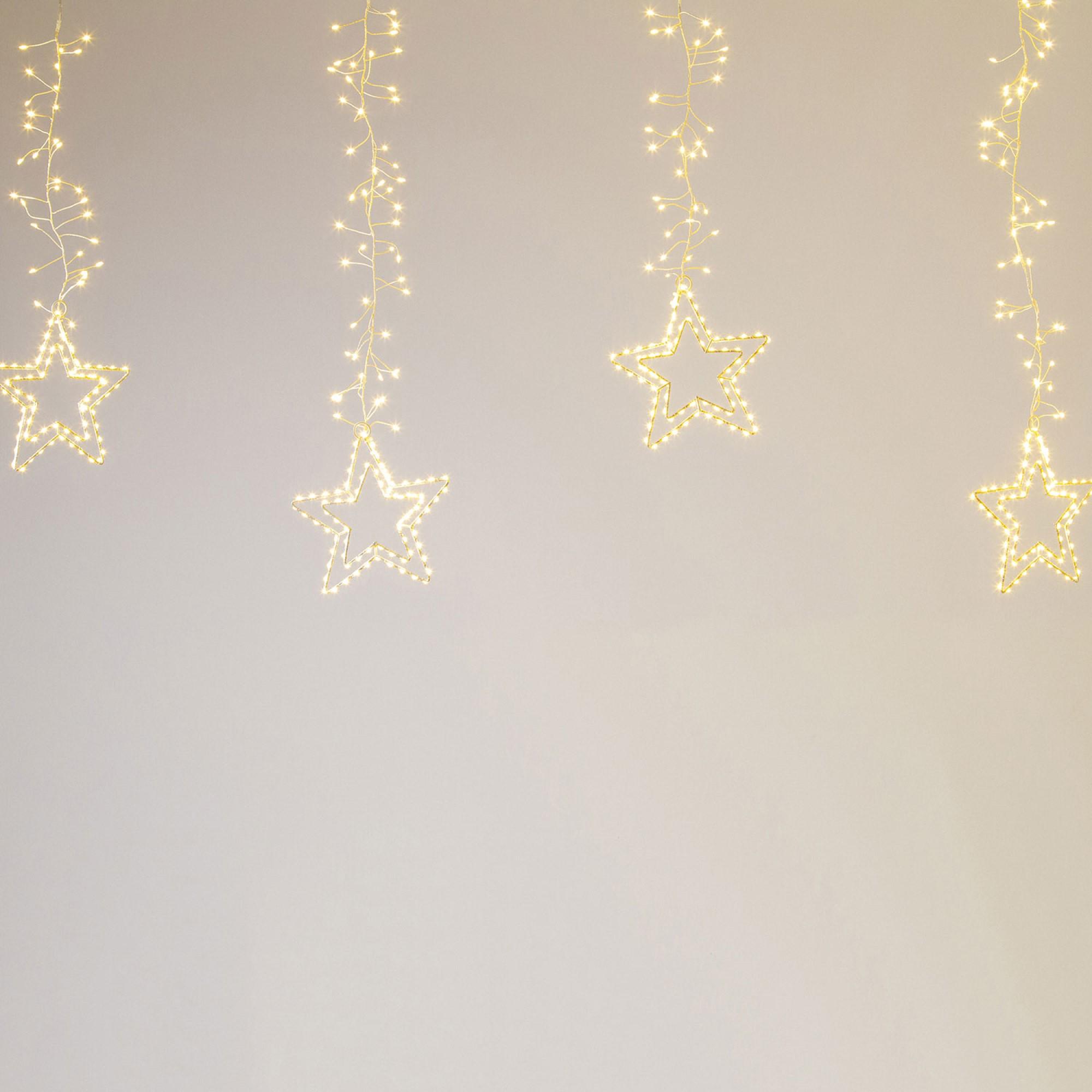 Lotti LED Cluster-Lichtervorhang mit Sternen, warmweiß, 950 LEDs, silber, IP44 63716