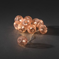 Decorative LED light set copper-coloured metal beads