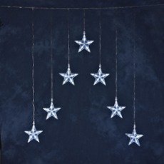LED curtain with 7 stars warm white