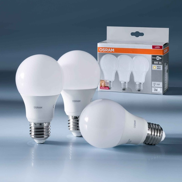 osram led base cla60 9w 827 fr e27 trois ampoules led et produits led dans la boutique leader. Black Bedroom Furniture Sets. Home Design Ideas