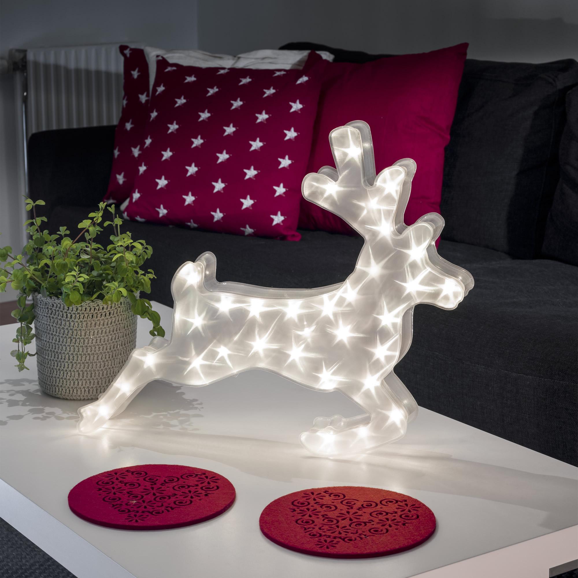 Konstsmide LED Kunstoffrentier, mit Sterneffekt, 32 warmweiße LEDs 2787-103