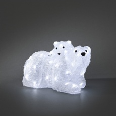 LED polar bear, mother with child, 48 cold white LEDs