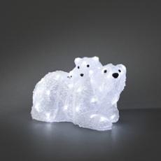 LED ours blanc, mère avec enfant, 48 LEDs blanc froid