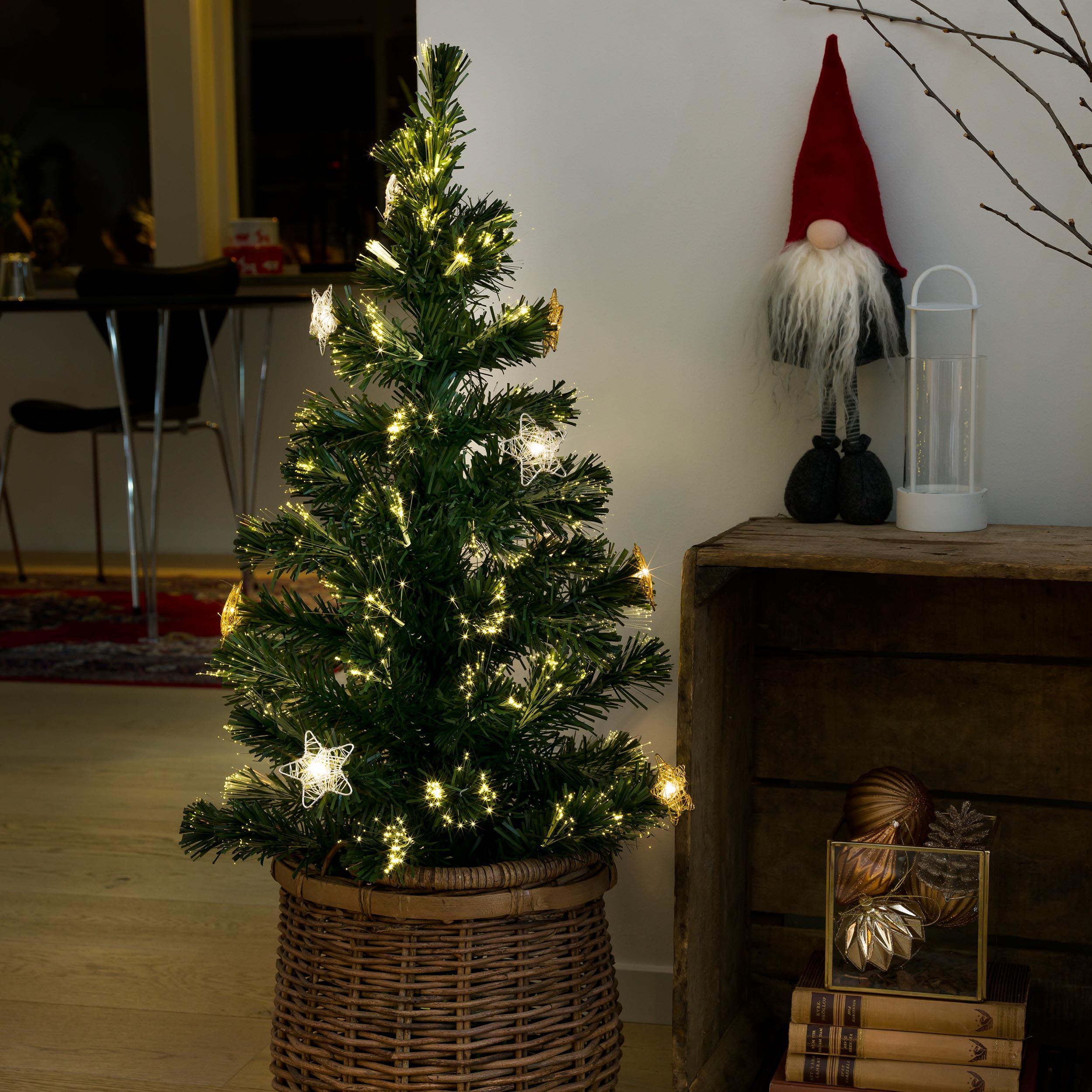 Gnosjö Konstsmide GmbH Konstsmide LED Fiberoptik Weihnachtsbaum, 12 warmweiße Dioden, 90cm 3398-900