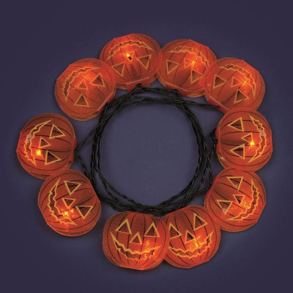 Lotti LED-Kürbis Lichterkette Halloween mit Glitzer 35096