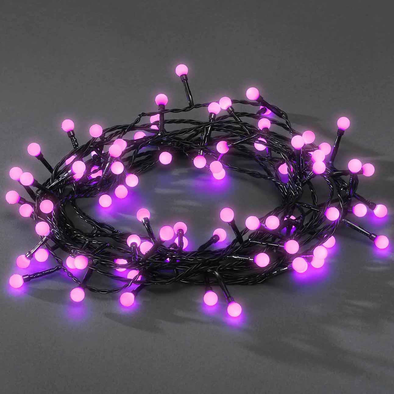 Konstsmide LED-Lichterkette, 80 runde Dioden, rosa 3691-457